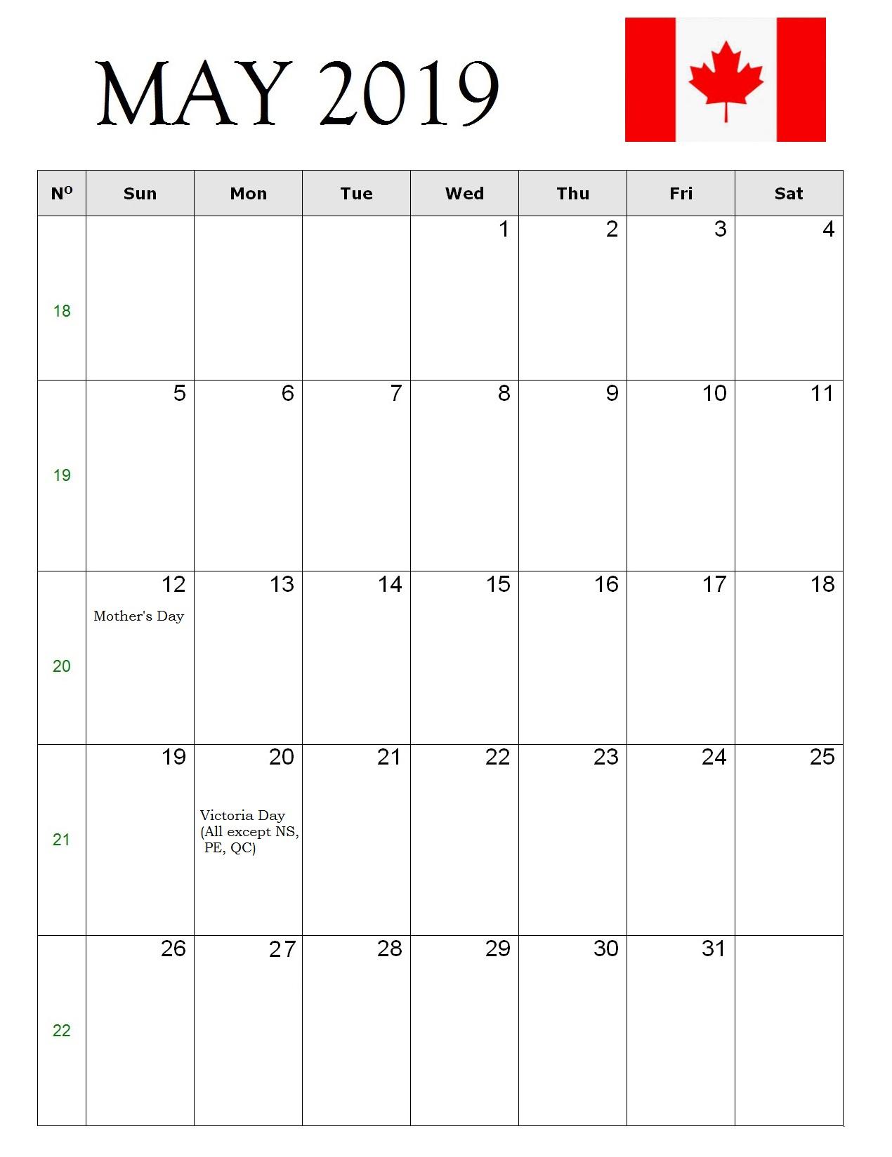 May 2019 Canada Holiday Calendar
