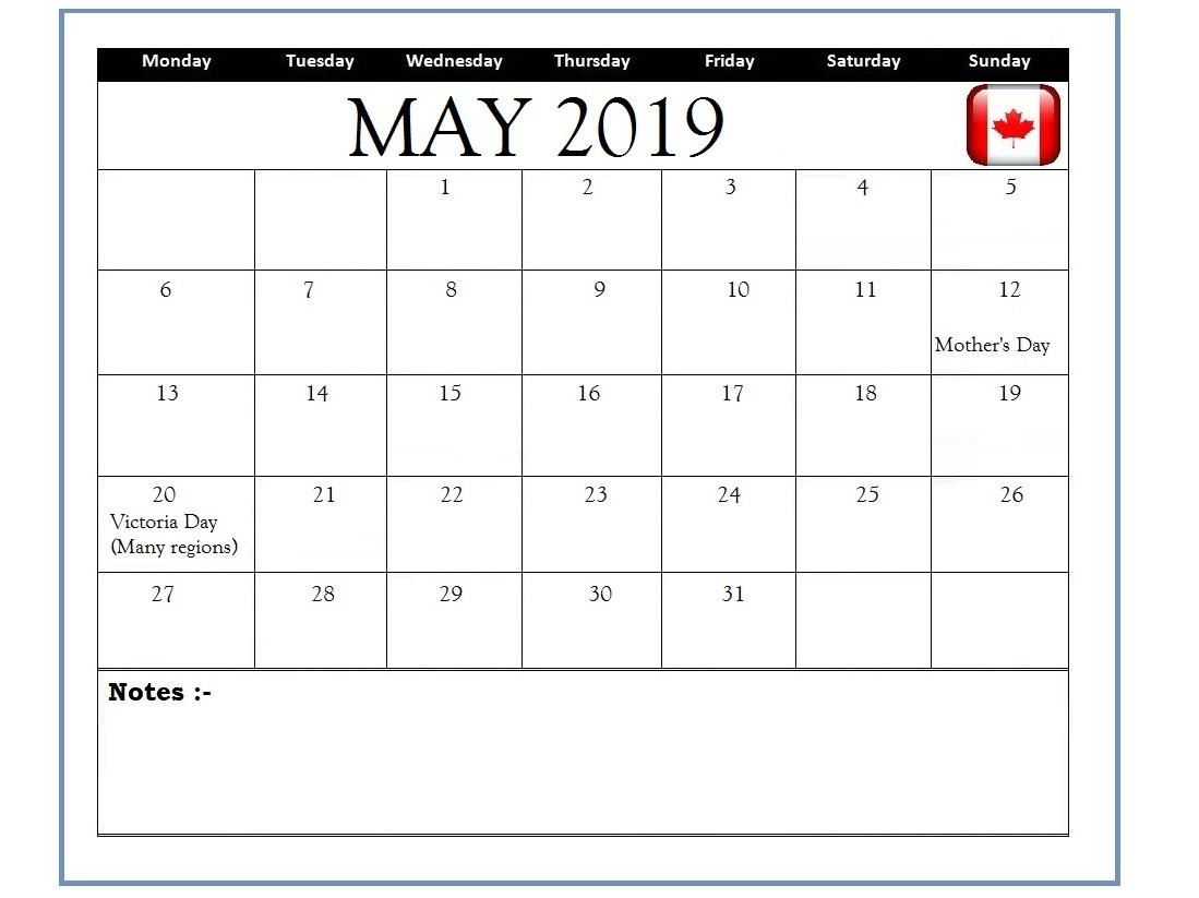 May 2019 Canada Holidays Calendar