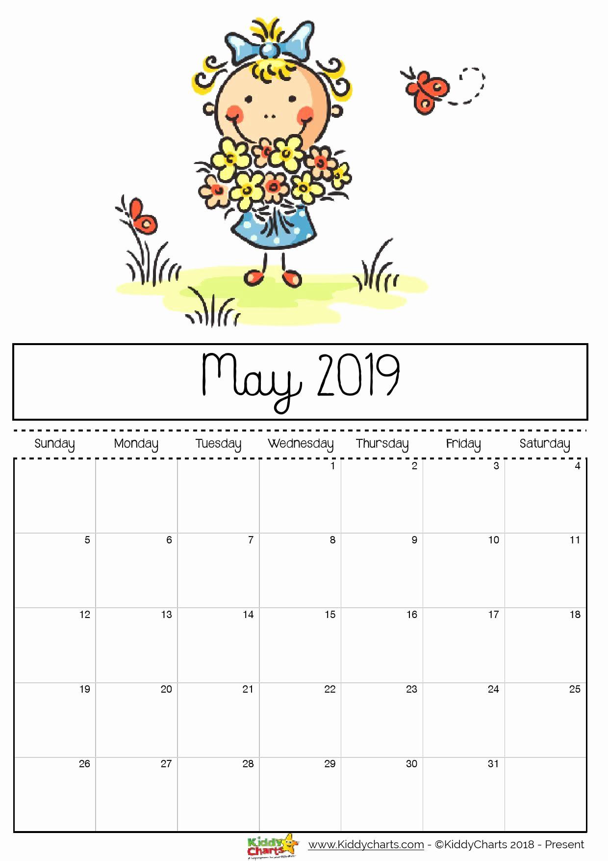 May 2019 Cute Calendar for Kids