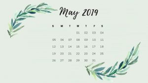 May 2019 Desktop Calendar Wallpaper