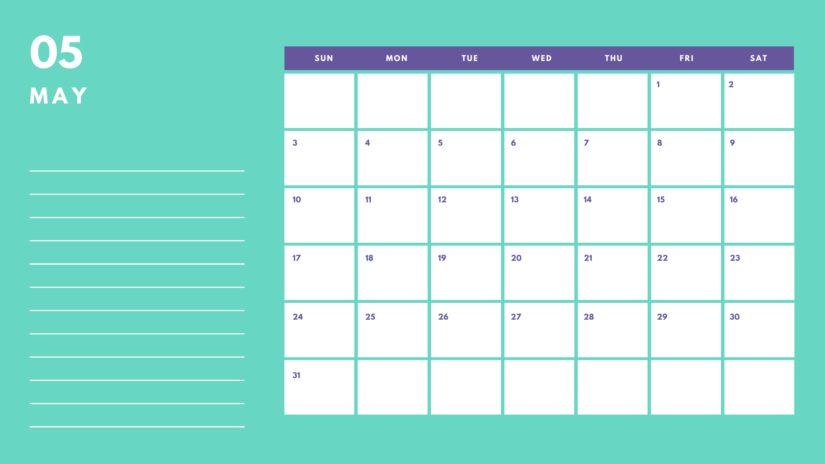 May 2020 Calendar Cute