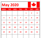 May 2020 Calendar with Canada Flag