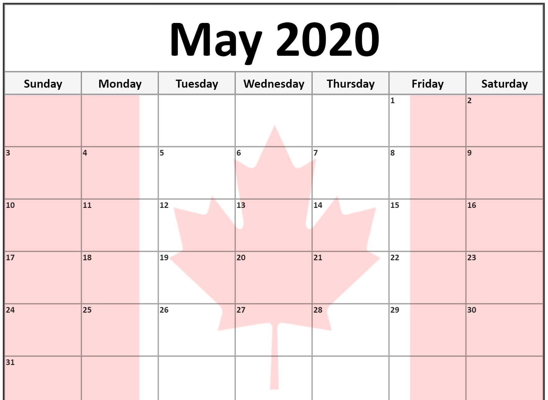 May 2020 calendar Canada flag