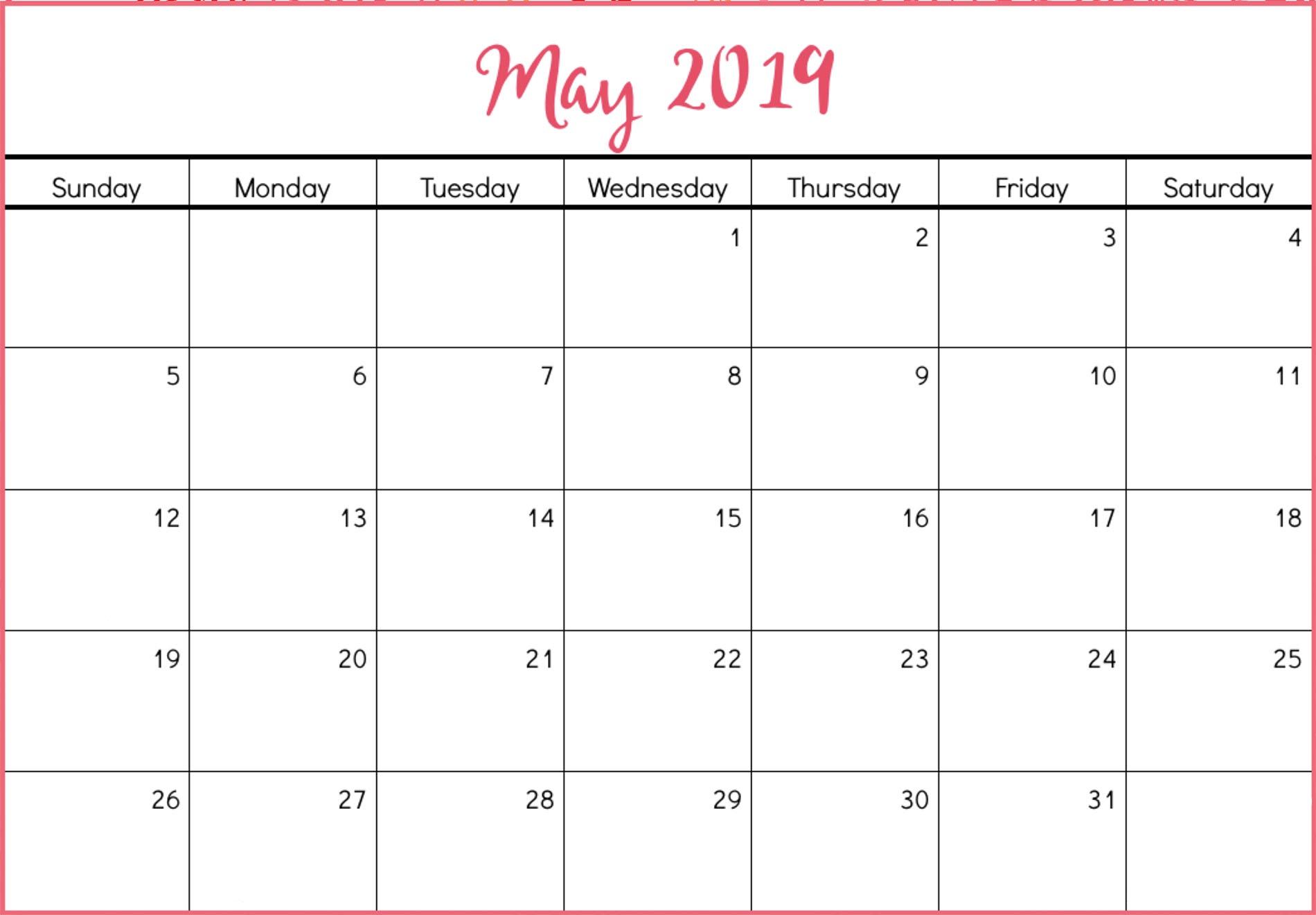 May Calendar 2019 Cute