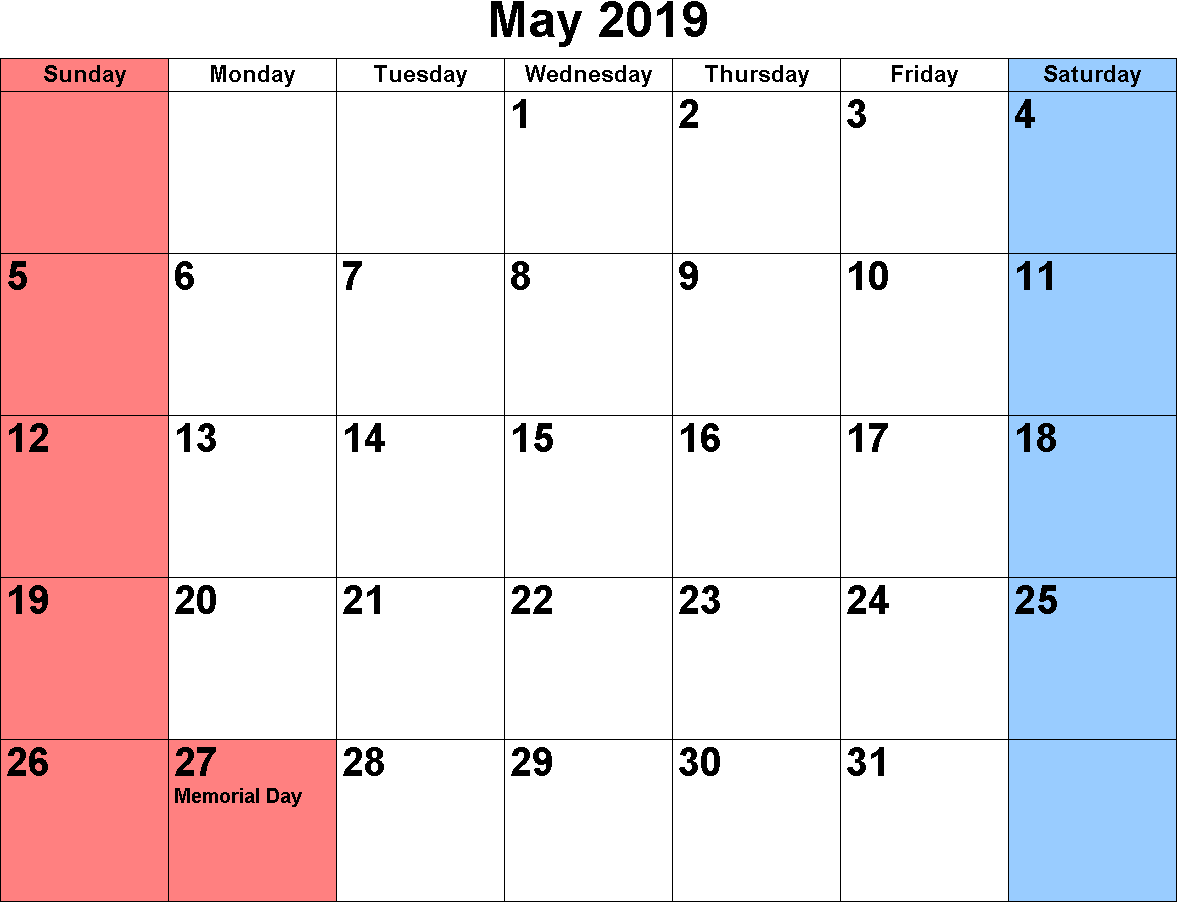 May Calendar 2019 Highlighted Weekends