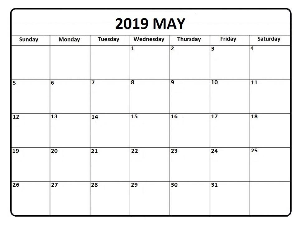 May Calendar 2019 Printable