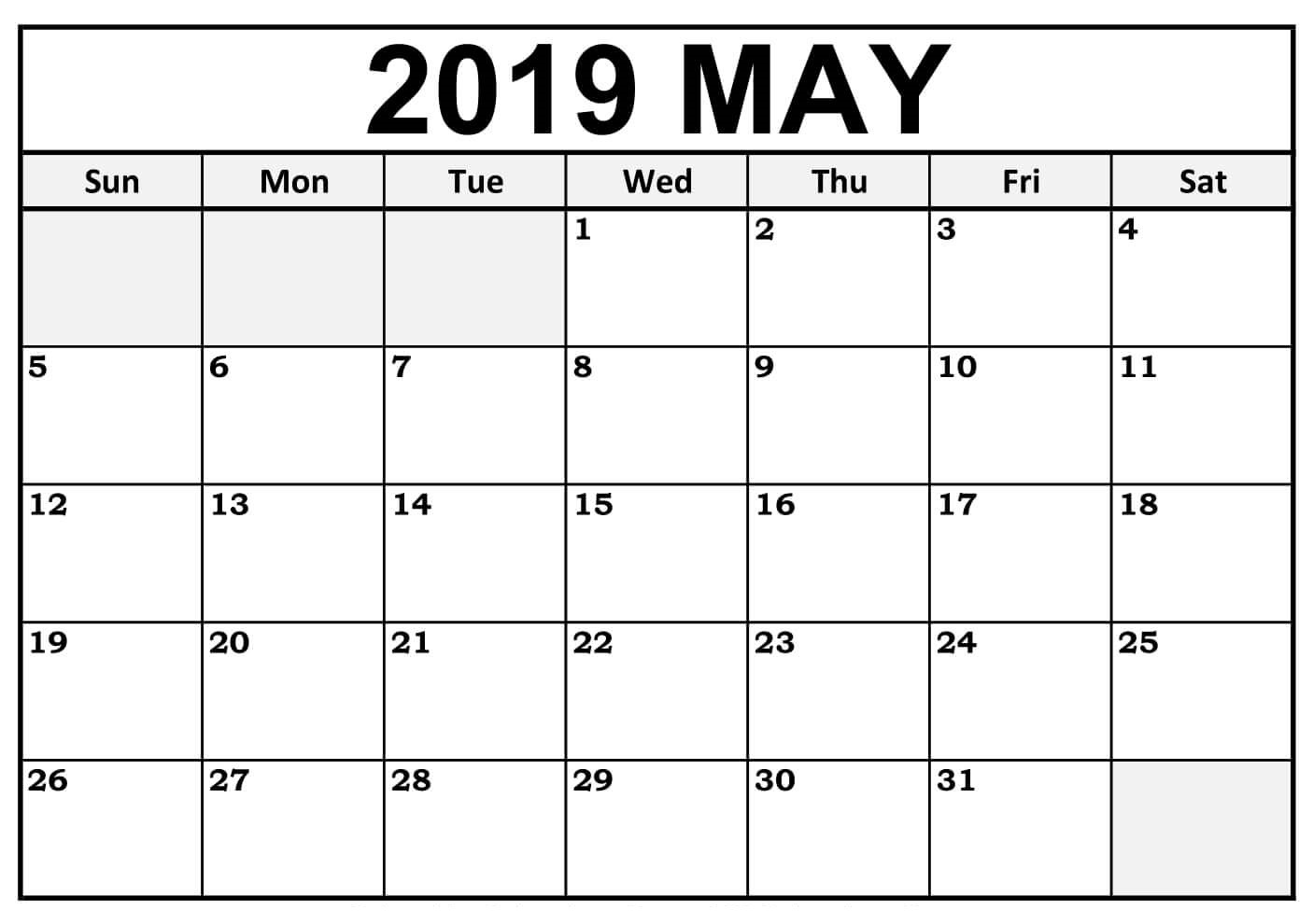 May 2019 Calendar Template Printable Blank With Editable Notes