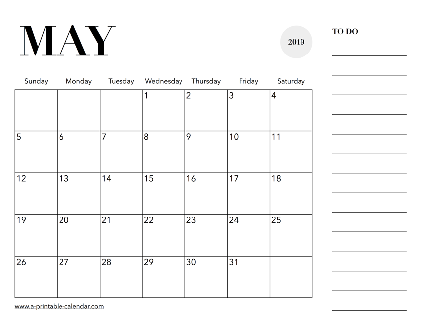 May Calendar 2019 With Notes
