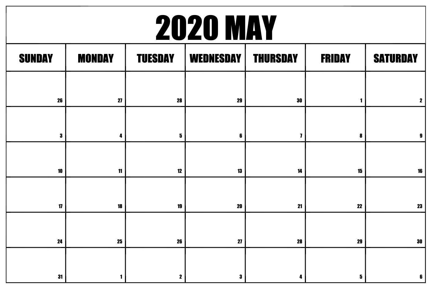 May Calendar 2020 Printable