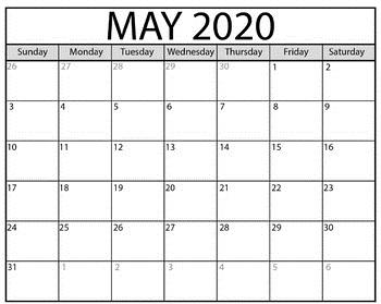 May Calendar 2020 Templates