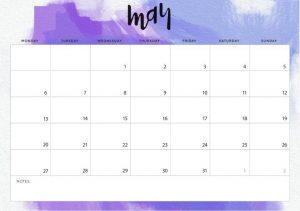May Desk Calendar 2019