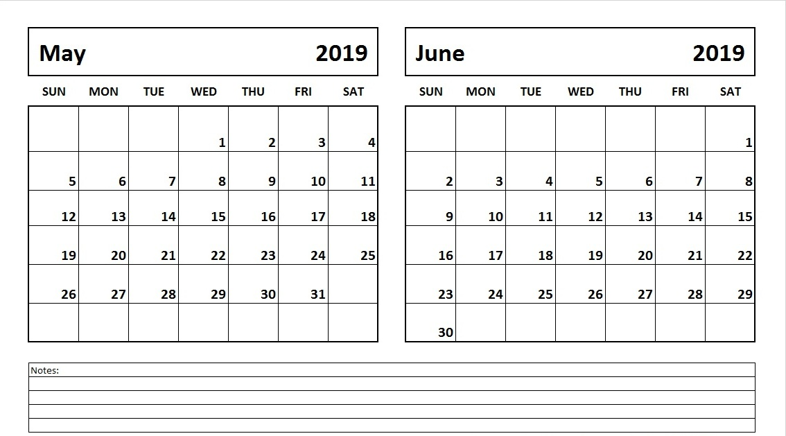 image about Printable June referred to as May well June 2019 Printable Calendar - No cost Printable Calendar
