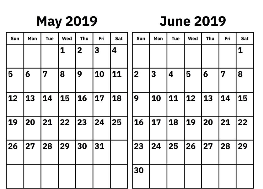 May June 2019 Calendar