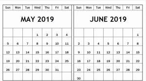 May June Calendar 2019