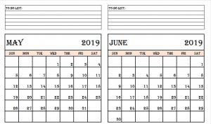May and June 2019 Calendar with Notes