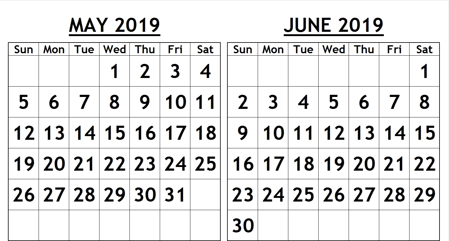 May and June 2019 Calendar