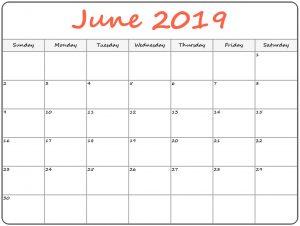 Monthly Calendar Template June 2019