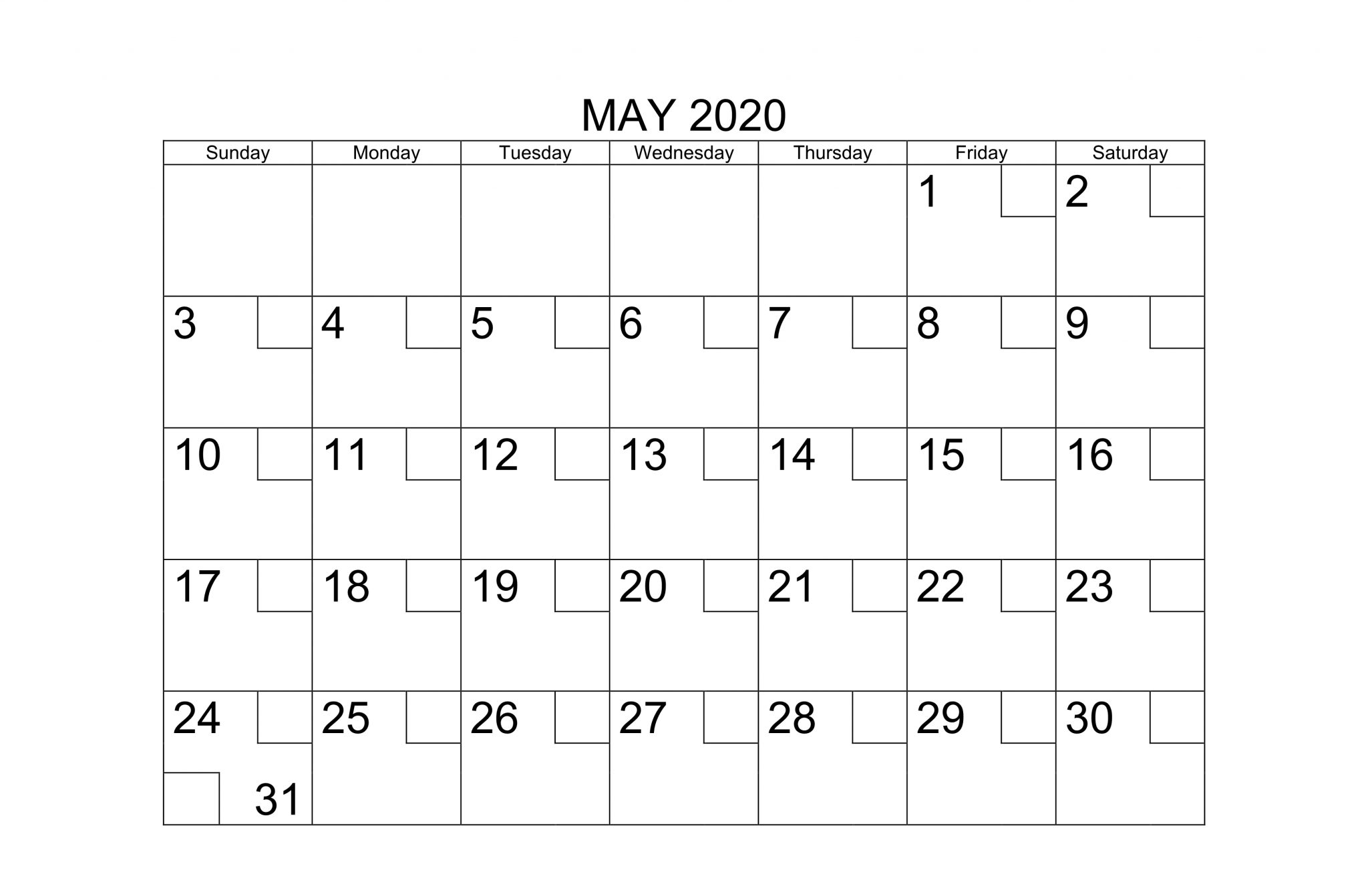 Online May 2020 Calendar Editable