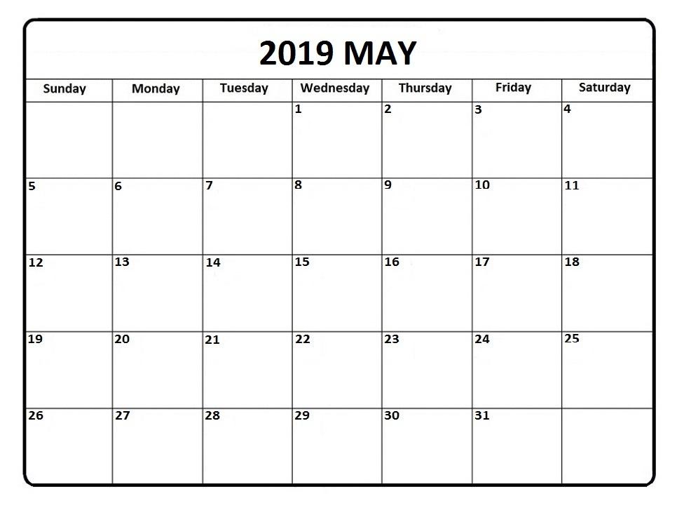 Print May 2019 Calendar Editable