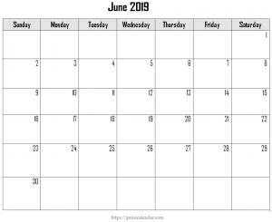 Printable June 2019 Calendar Template