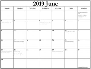 Printable June 2019 Holidays Calendar
