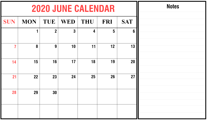 Printable June 2020 Holidays Calendar