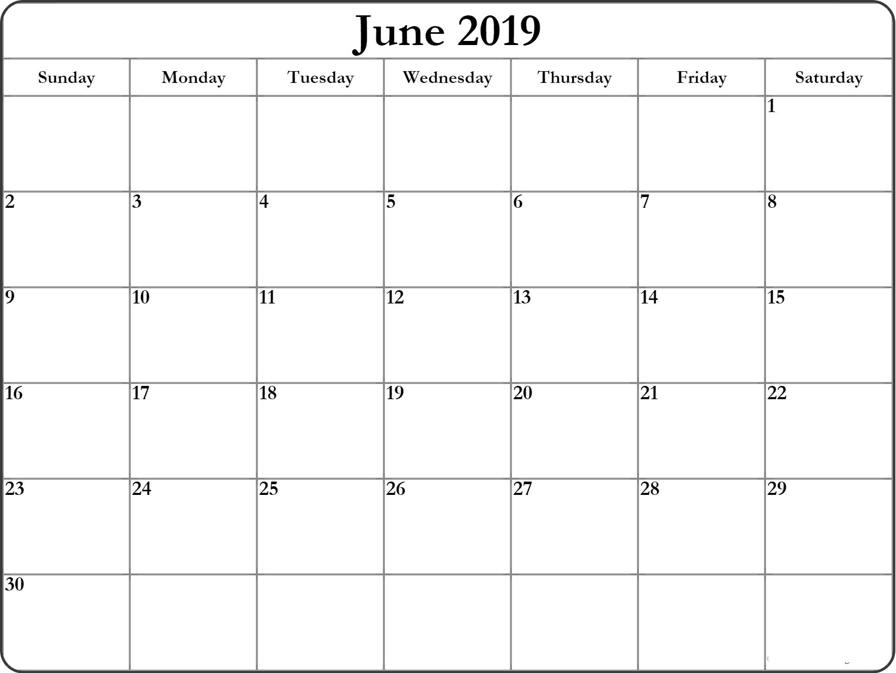 Printable June Calendar 2019 Blank