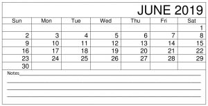 Printable June Calendar 2019 Planner
