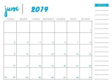 Printable June Calendar 2019 Template