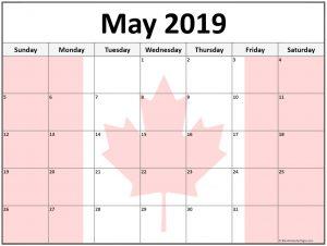 Printable May 2019 Calendar Canada