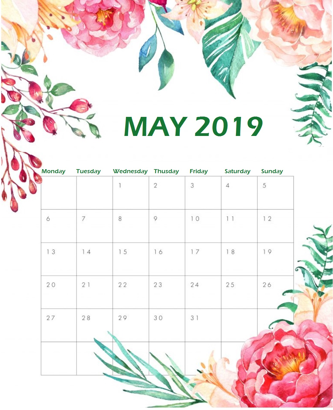 Printable May 2019 Floral Calendar