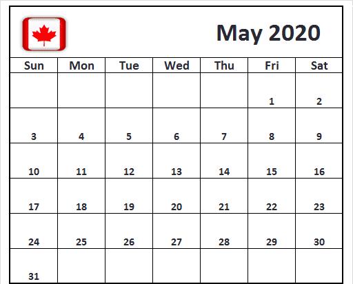 Printable May 2020 Calendar Canada