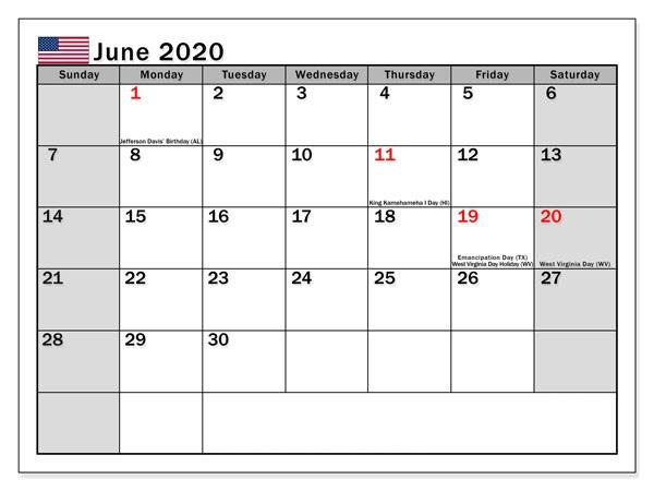 USA Holidays Calendar June 2020