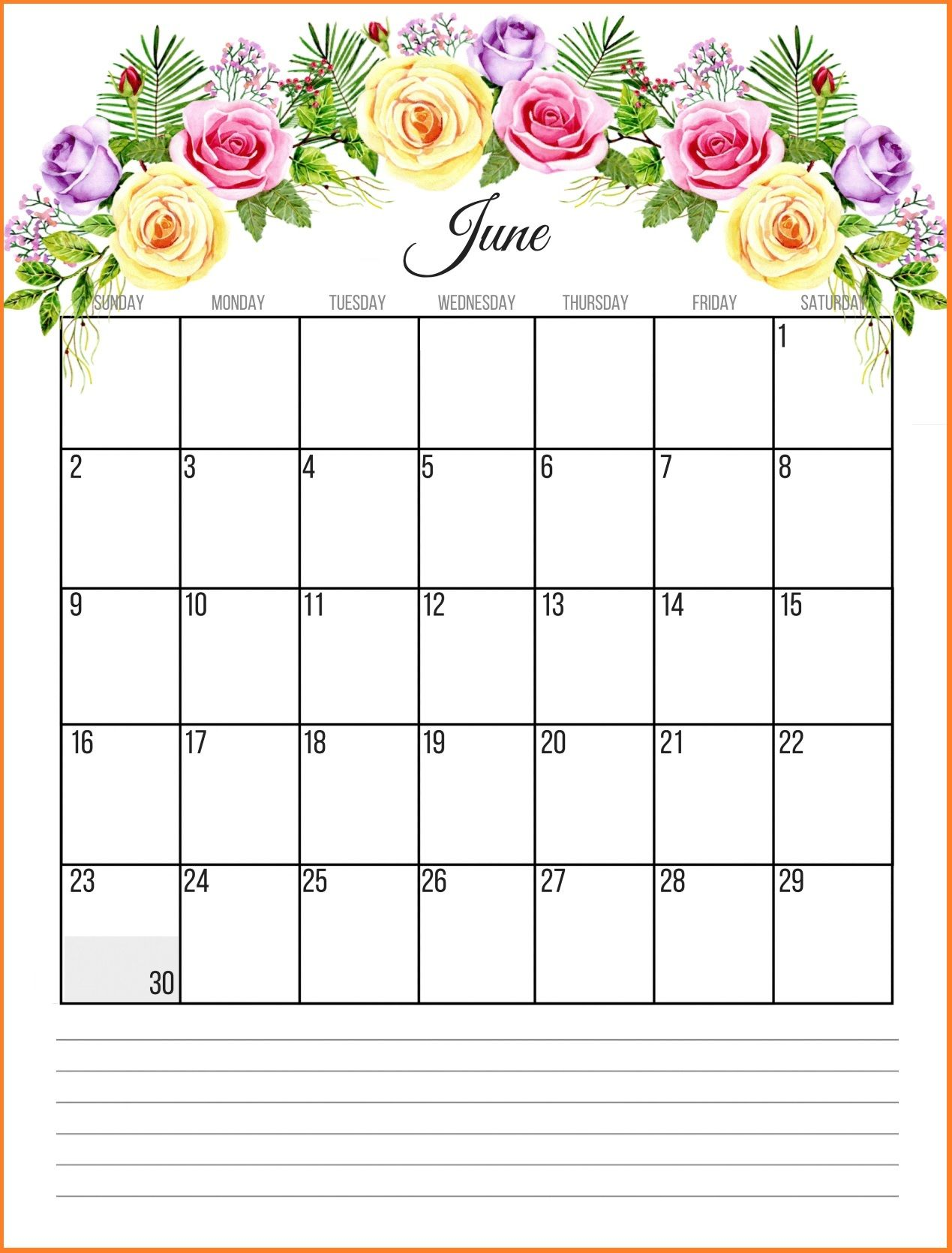 Wall Calendar for June 2019