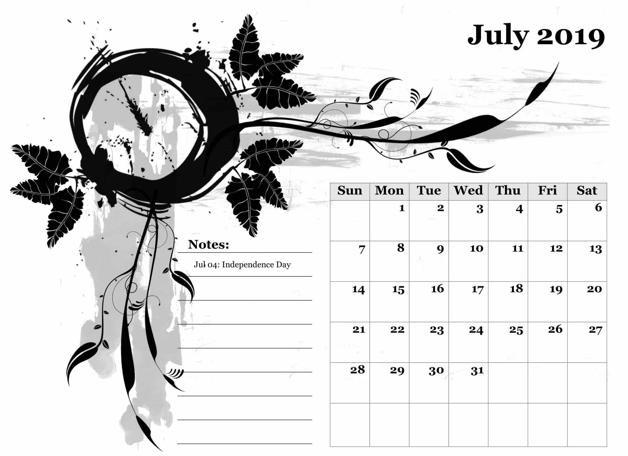 2019 July Calendar with Holidays