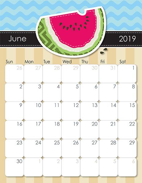 2019 June Calendar Printable