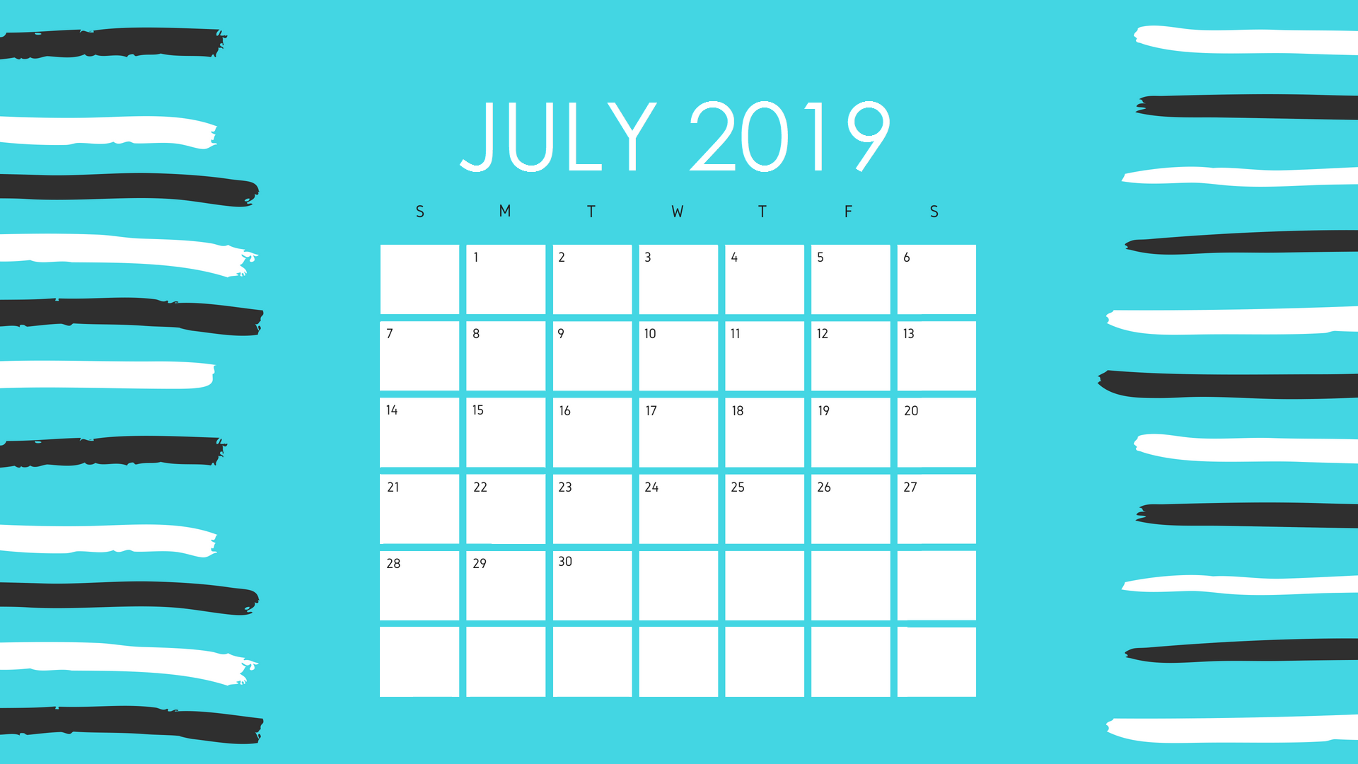 Attractive July 2019 Calendar Design