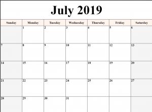 Blank Calendar July 2019 Printable