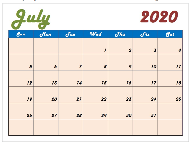 Colorful July 2020 Calendar Template