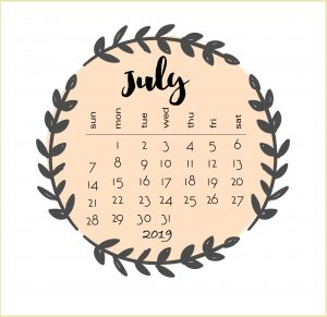 Cute July 2019 Calendar Design