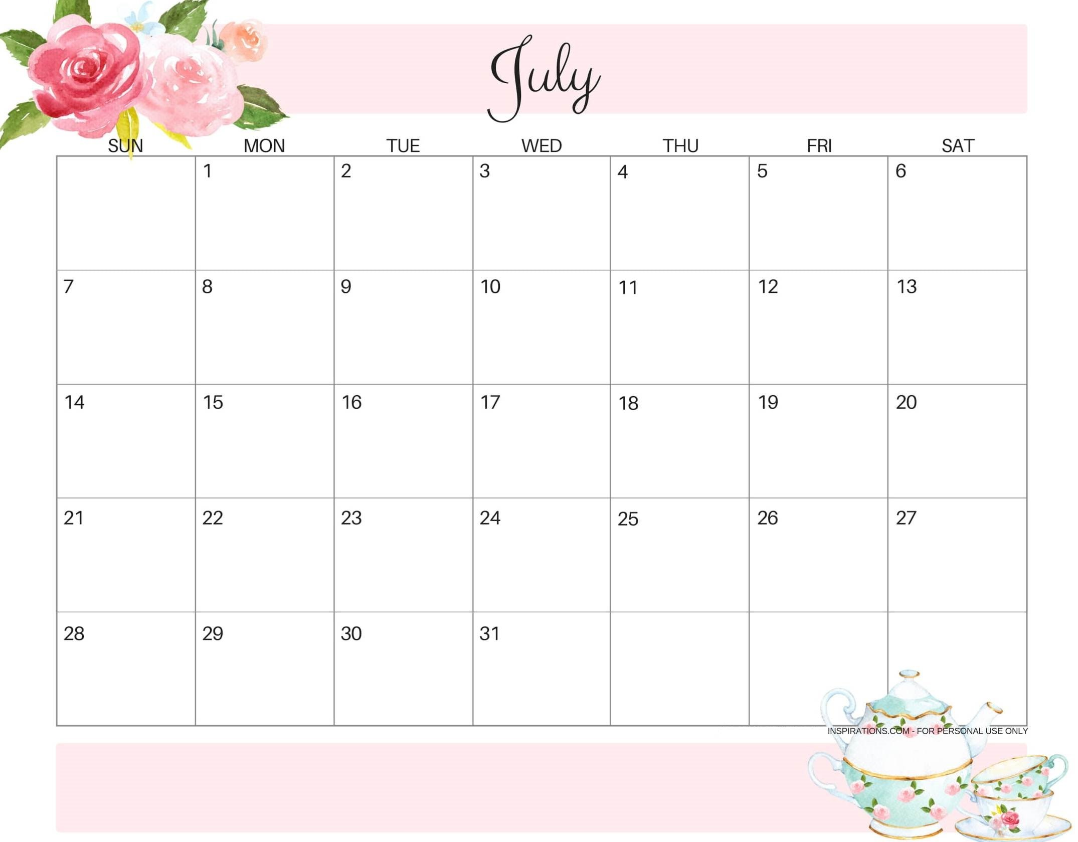 Cute July 2019 Calendar Editable