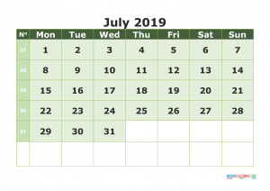 Cute July 2019 Calendar Printable