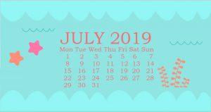 Cute July 2019 Desktop Calendar Wallpaper