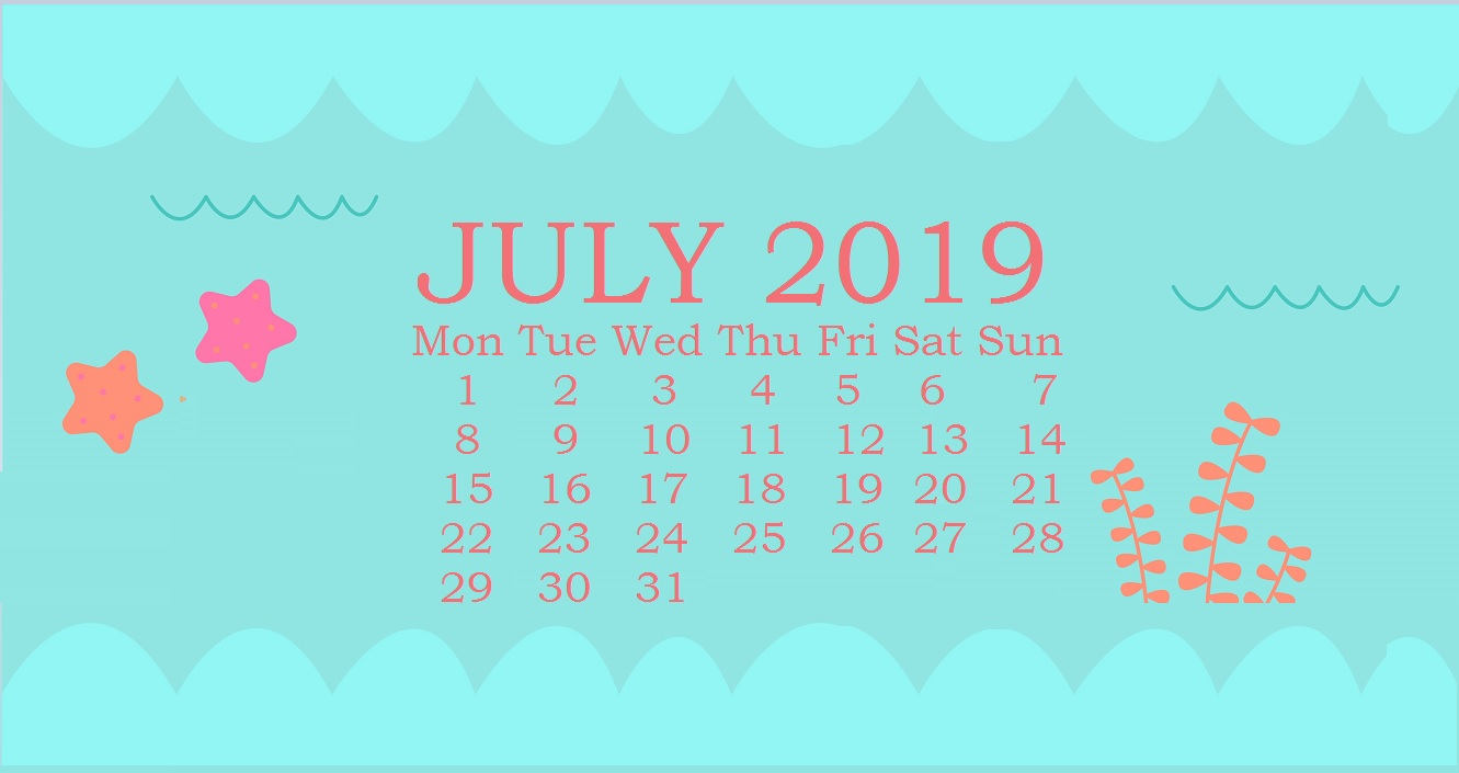 Cute July 2019 Desktop Calendar Wallpaper