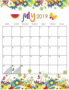Cute July 2019 Floral Wall Calendar