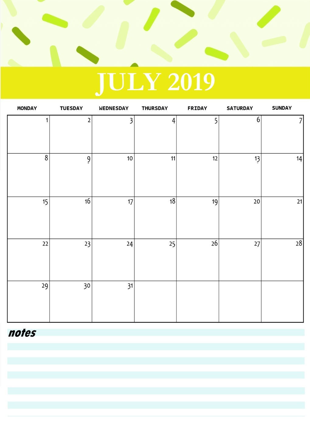 Cute July 2019 Wall Calendar