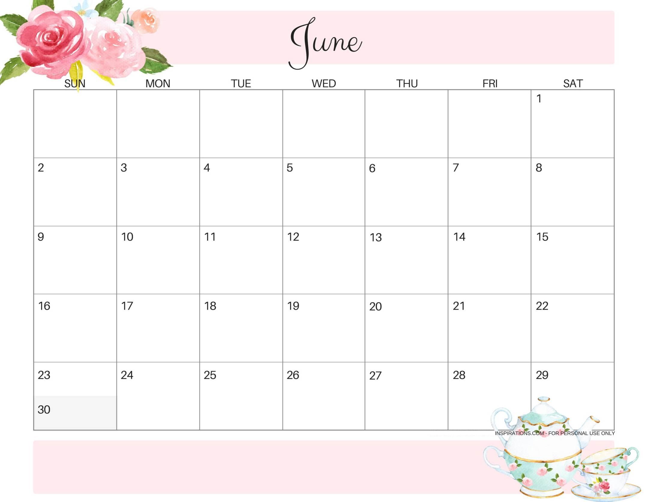 Cute June 2019 Calendar Free Printable