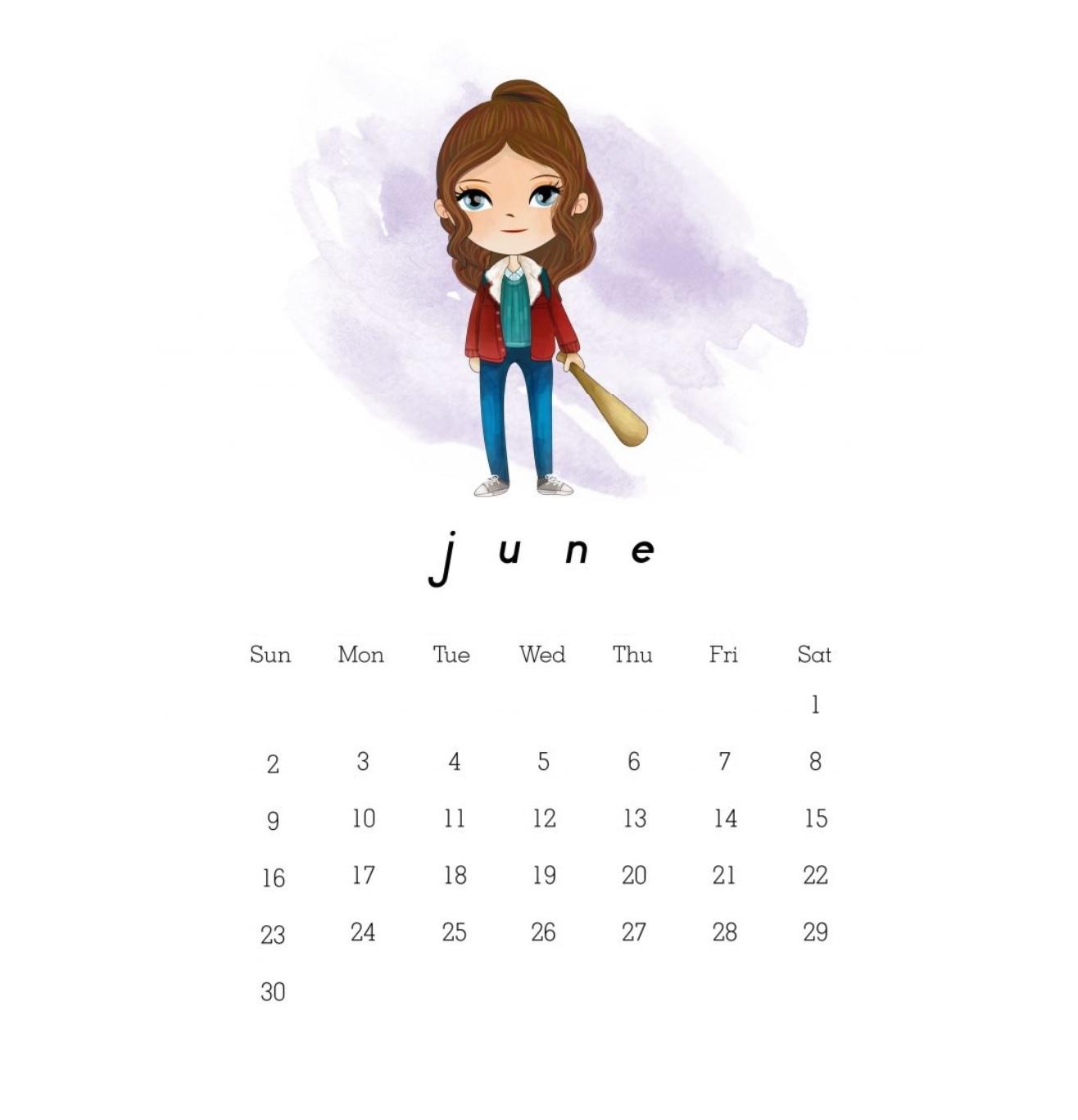 Cute June 2019 Calendar for Kids