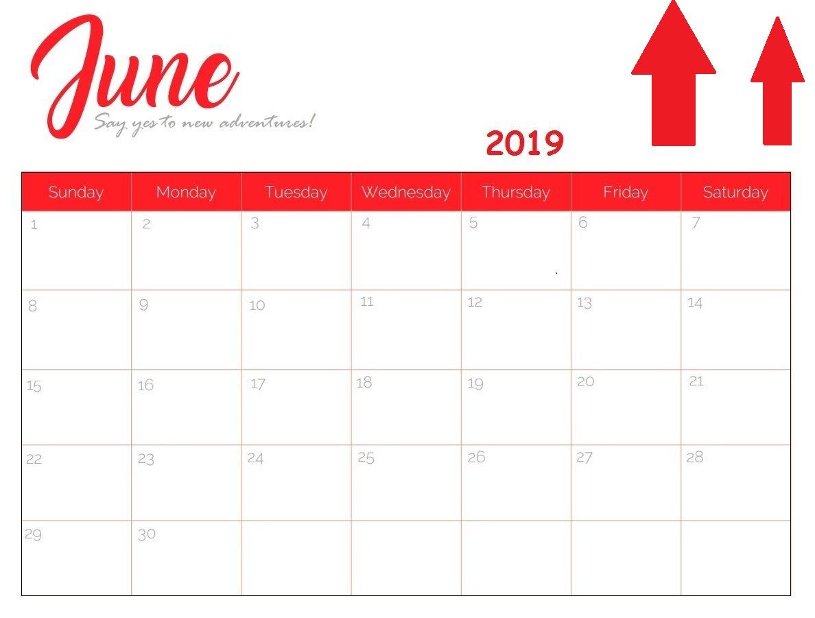 Cute June 2019 Calendar