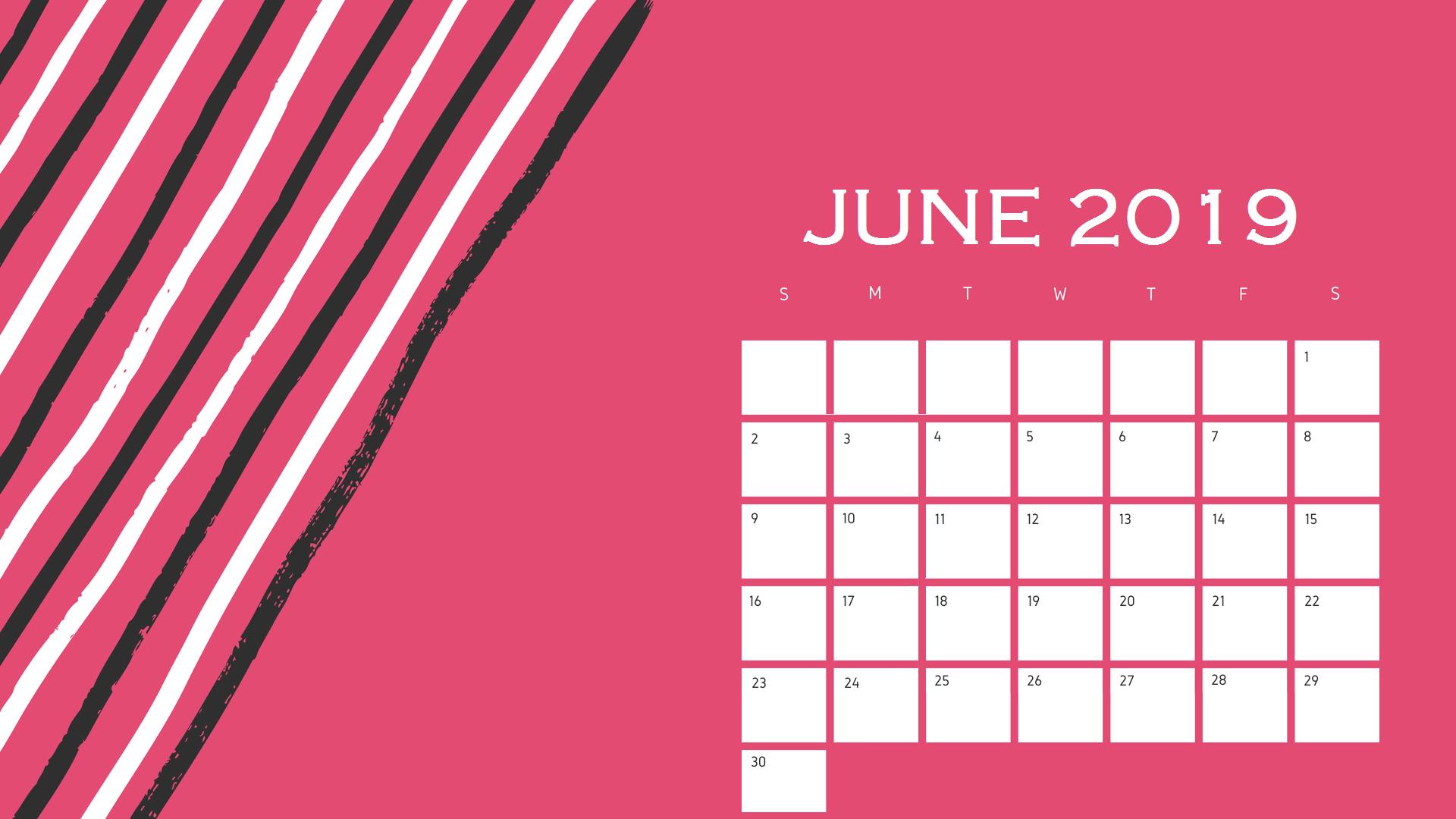 Cute June 2019 Desktop Calendar